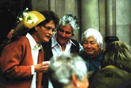Ulla Røder in 2001 receiving the Alternate Nobel Peace Prize with two other activists of Trident Ploughshares